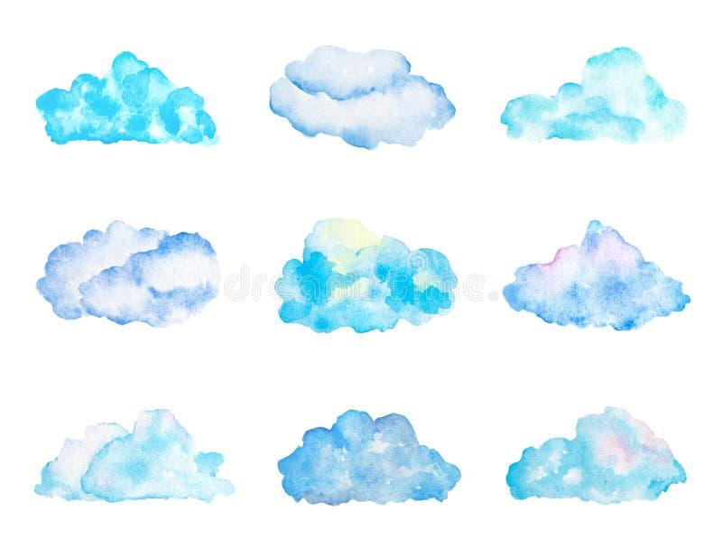 Set Jaskrawe Bławe akwareli chmury, Odosobniony na bielu ilustracja wektor