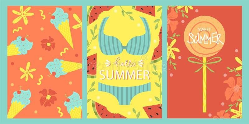 Set jaskrawe lato karty 2007 pozdrowienia karty szczęśliwych nowego roku Wektorowy projekta pojęcie dla lata przyjęcia ilustracja wektor
