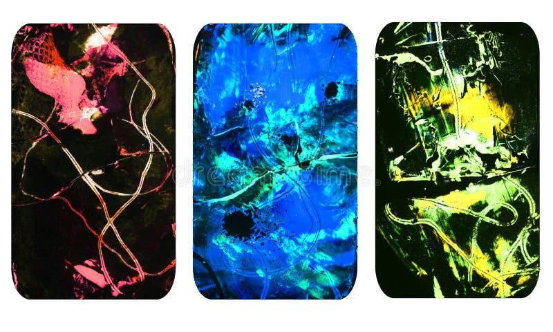 Set jaskrawe zamazane abstrakcjonistyczne tekstury Kolorowi handmade tła z odciskami, plamy, scuffed tereny ilustracji