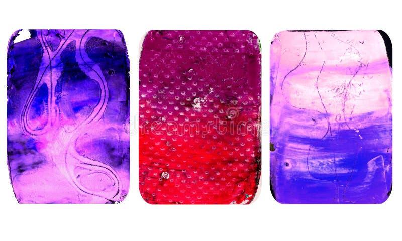 Set jaskrawe zamazane abstrakcjonistyczne tekstury Kolorowi handmade tła z odciskami, plamy, scuffed tereny royalty ilustracja
