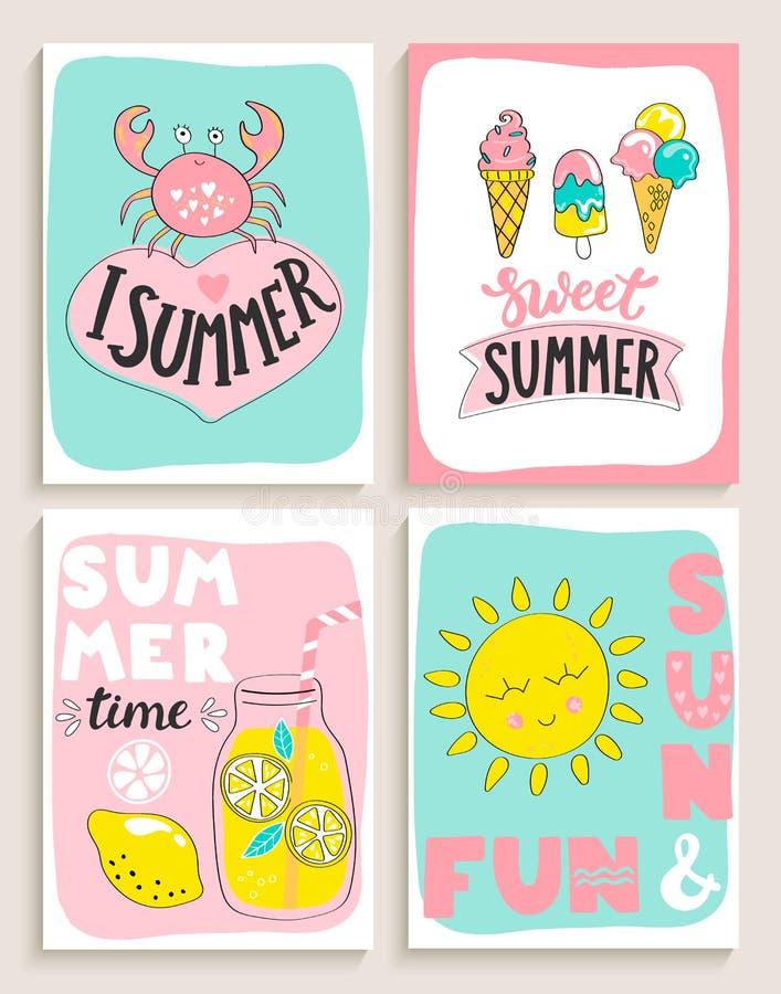 Set 4 jaskrawej lato karty ilustracja wektor