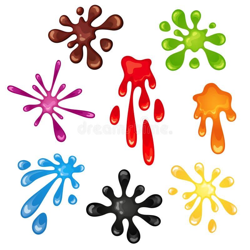 Set jaskrawi barwioni kleksy, pluśnięcie Rewolucjonistka, zieleń, błękit, czerń, brąz, kolor żółty, purpury i pomarańcze, ilustracji