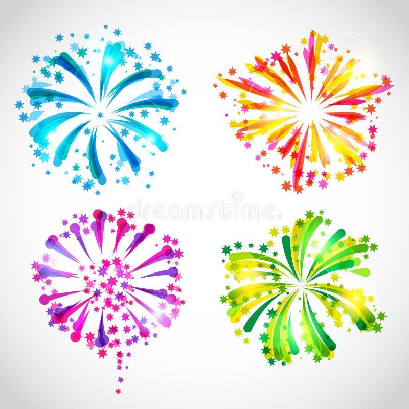Set jaskrawi kolorowi fajerwerki i salut royalty ilustracja