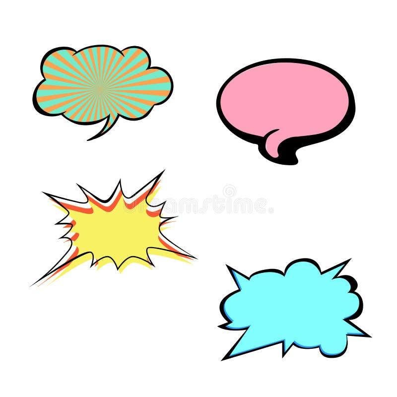 Set jaskrawi kolorowi puści mowa bąble Kolorowe ikony odizolowywać na białym tle Komiczki i kreskówki styl royalty ilustracja