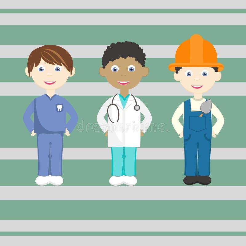 Set jaskrawi odosobneni zawody Dentysta, lekarka, budowniczy ilustracja wektor