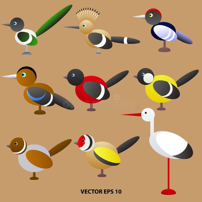 Set jaskrawy barwiący zabawkarscy ptaki od geometrycznych kształtów ilustracja wektor