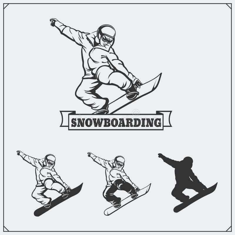 Set jazda na snowboardzie ekstremum etykietki, emblematy, odznaki i projektów elementy, royalty ilustracja