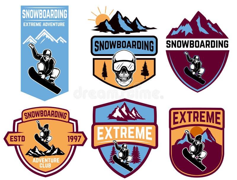 Set jazda na snowboardzie emblematy Projektuje element dla loga, etykietka, emblemat, znak royalty ilustracja