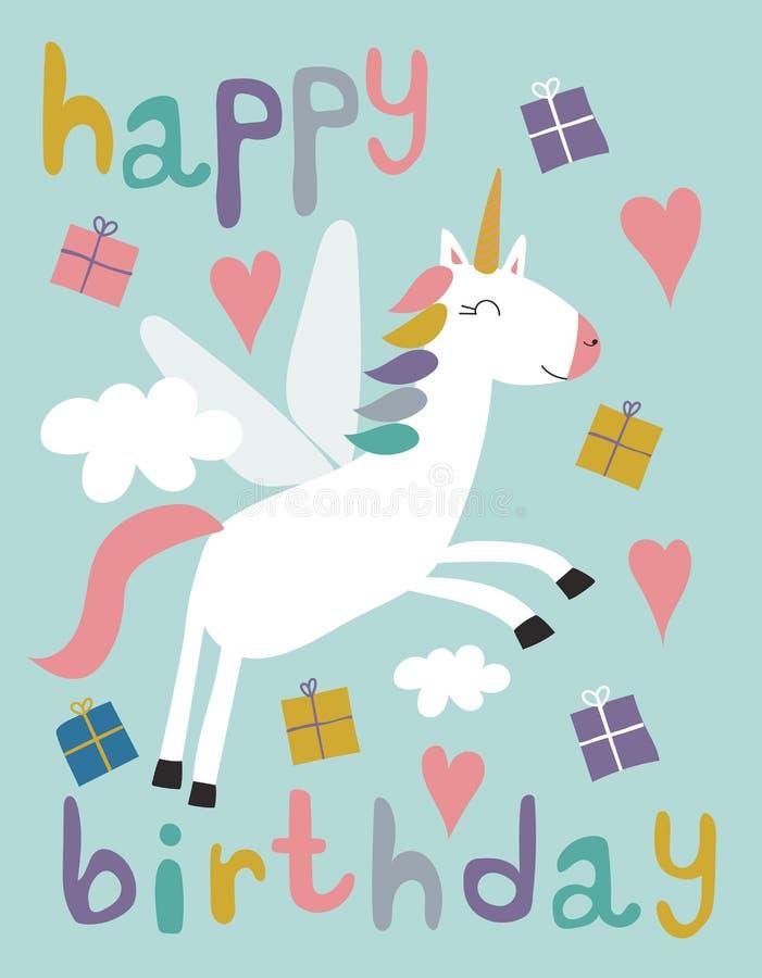 Set jednorożec z prezentami, chmurami i wszystkiego najlepszego z okazji urodzin, royalty ilustracja