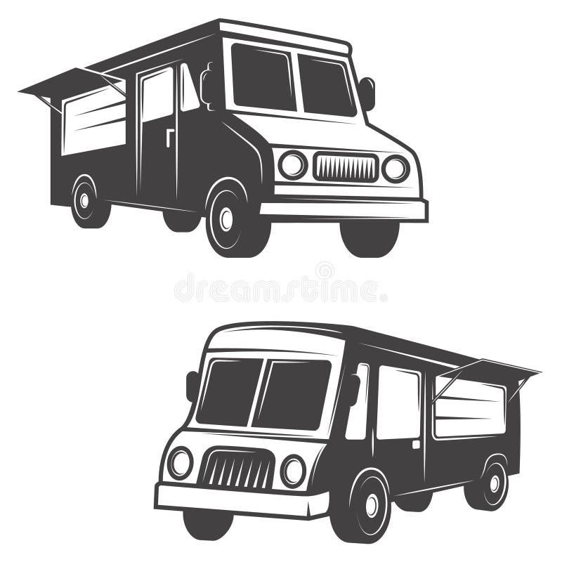 Set jedzenie ciężarówki odizolowywać na białym tle ilustracji