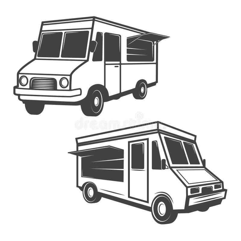 Set jedzenie ciężarówki odizolowywać na białym tle cztery elementy projektu tła snowfiake białego ilustracji