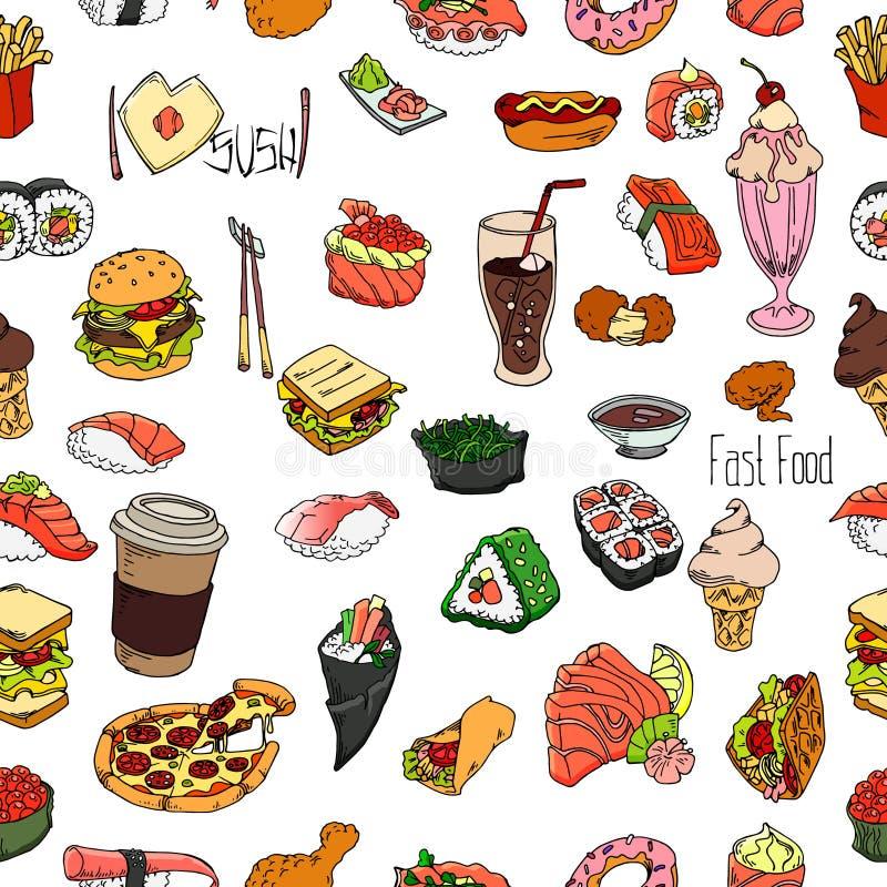Set jedzenie i napój zarysowywamy bezszwowego wzór Ręka rysujący suszi i fast food r?wnie? zwr?ci? corel ilustracji wektora royalty ilustracja