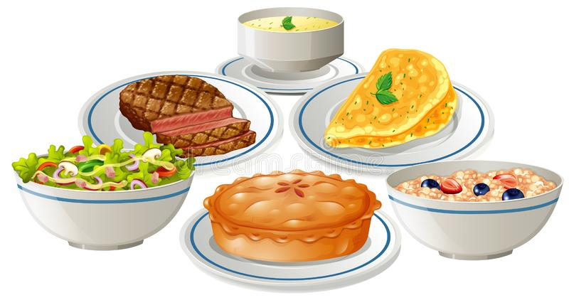 Set jedzenie na talerzu ilustracja wektor
