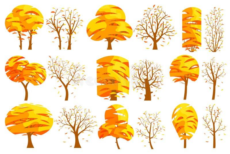 Set jesień odizolowywał drzewa na białym tle royalty ilustracja