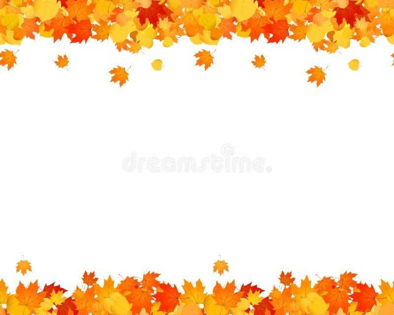 Set jesieni bezszwowa stopka i chodnikowiec dla stron internetowych, reklama, dekoracja Spada liście ilustracyjni ilustracji