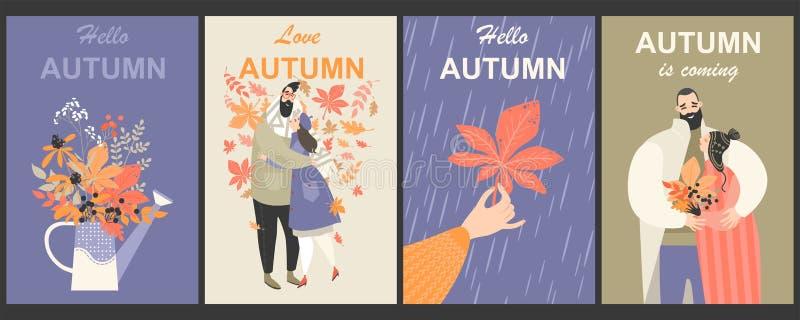 Set jesieni ilustracje z ślicznymi charakterami i bukiety liście ilustracji