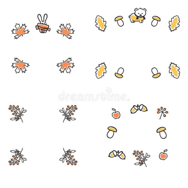 Set jesieni ramy Śliczne wektorowe ilustracje ilustracja wektor