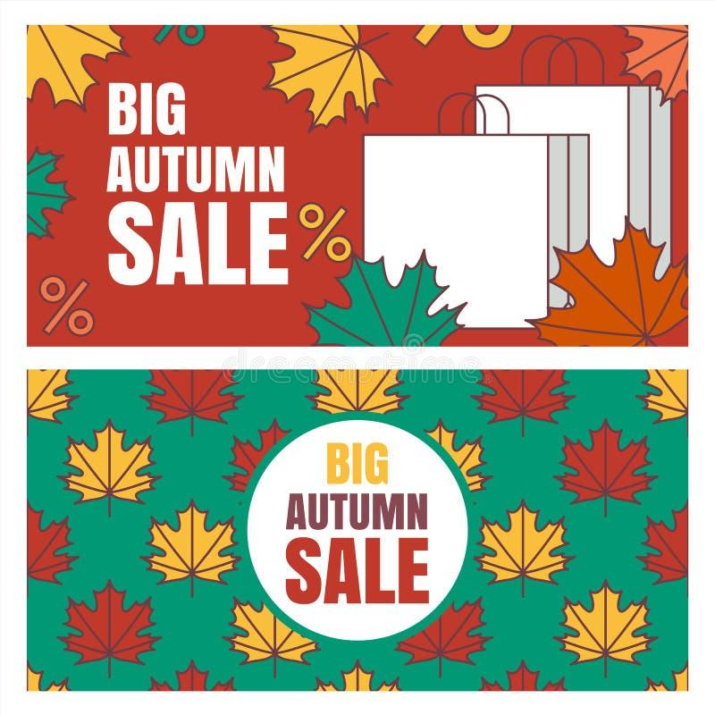 Set jesieni sprzedaży sztandarów tło ilustracja wektor