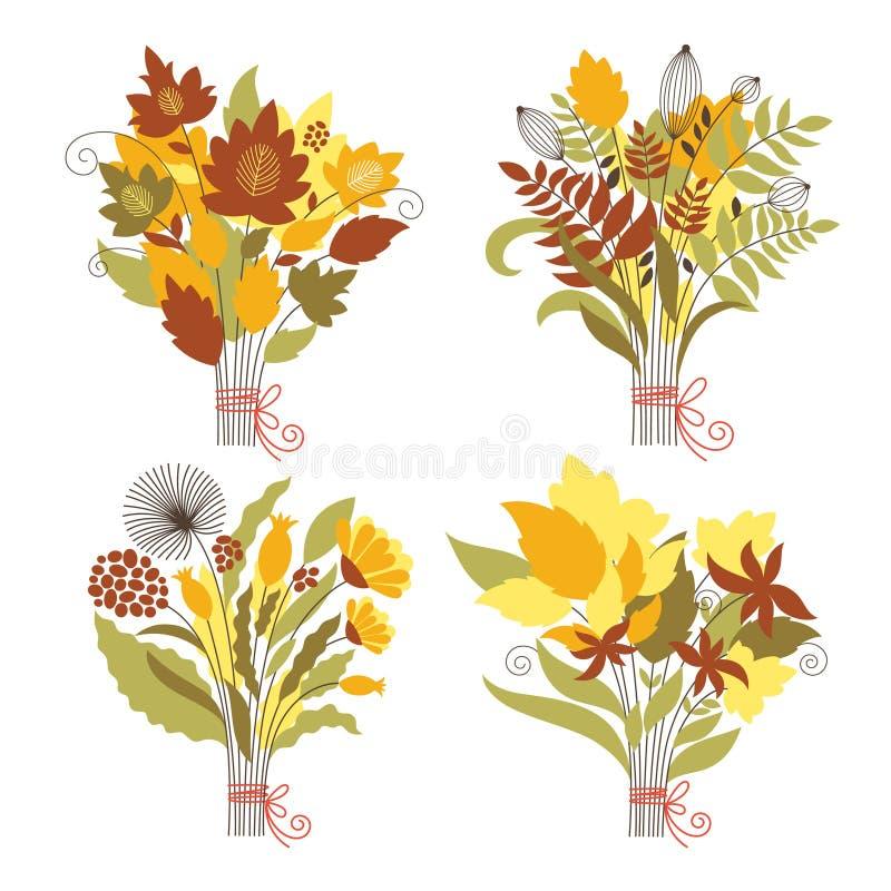 Set jesienni bukiety royalty ilustracja