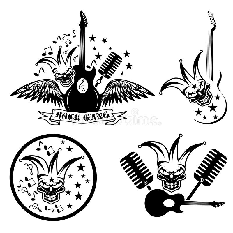 set with jester skull,wings and guitar stock illustration