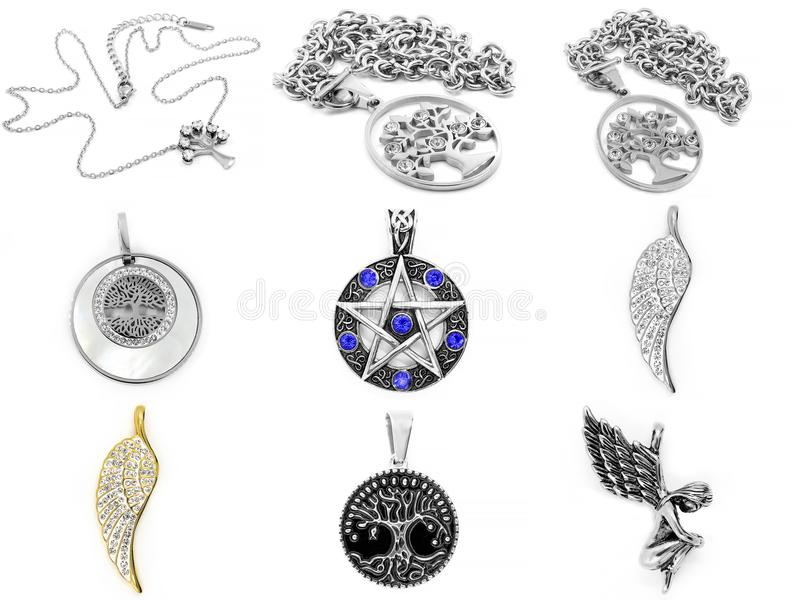 Set jewellery fotografie Kolie 375 magna stal nierdzewna 04 zdjęcie royalty free