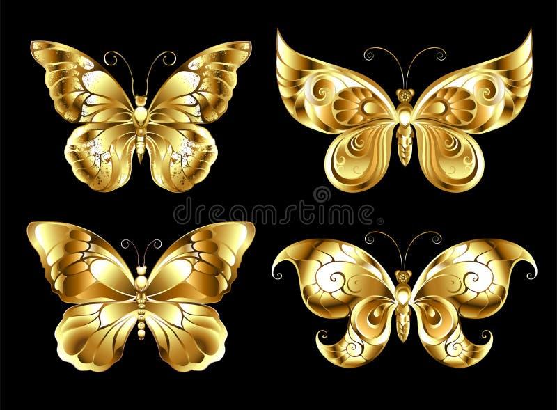 Set of jewelry butterflies stock illustration