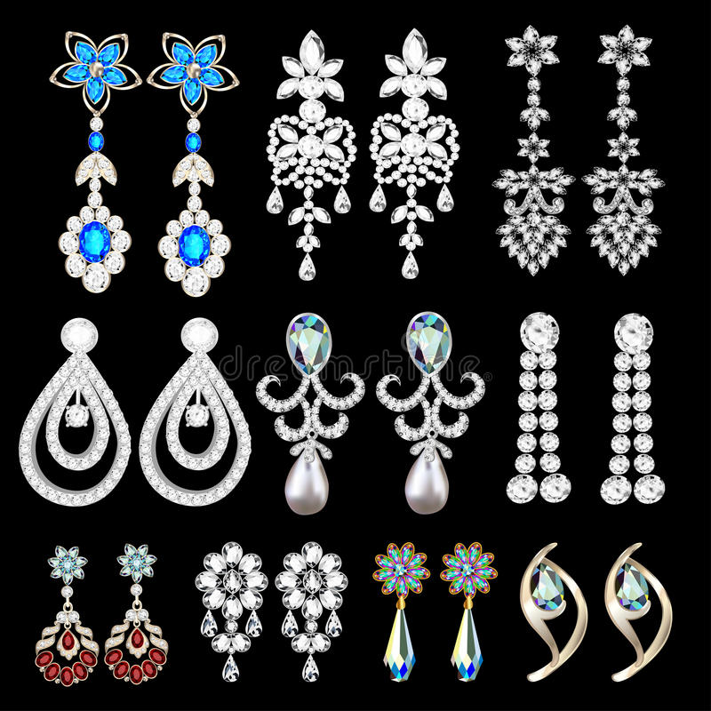 set of jewelry earrings with precious stones vector illustration