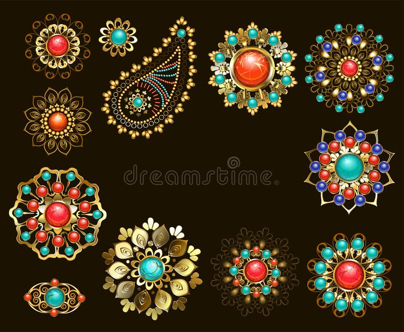 Set of jewelry ethnic brooches vector illustration