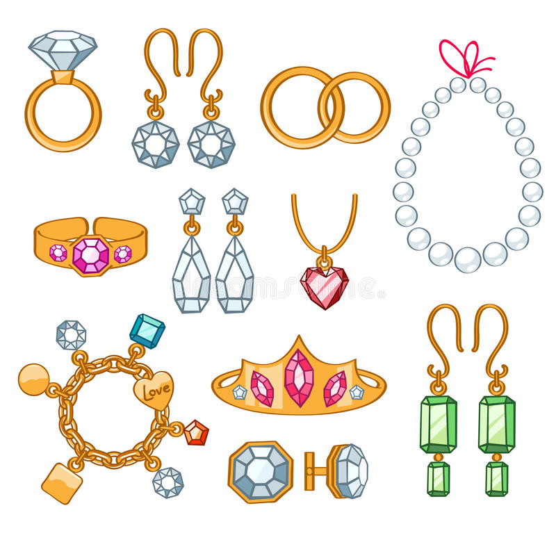 Set of jewelry items. stock vector. Illustration of adornment ...
