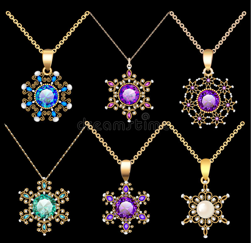 set of jewelry vintage pendants ornament made of be vector illustration
