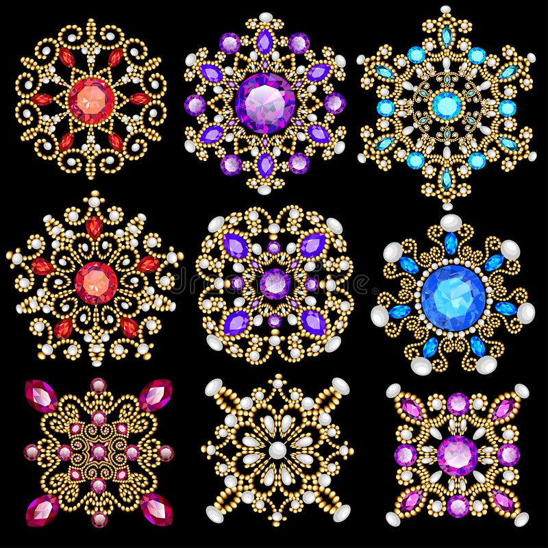Set of jewelry vintage pendants ornament made of be royalty free illustration
