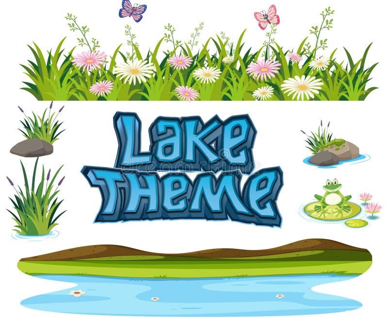 Set jeziorny element royalty ilustracja