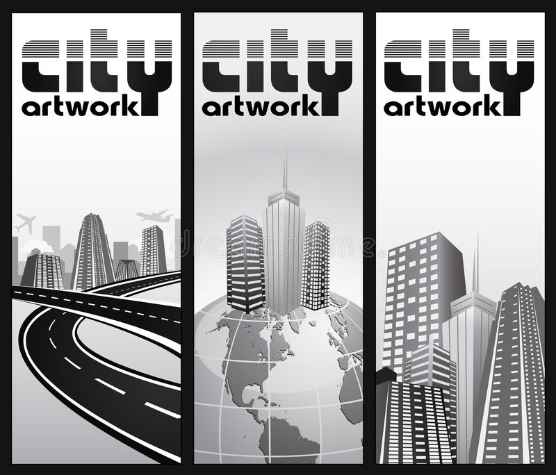 set jobbanvisning för abstrakt erkännandestad stock illustrationer