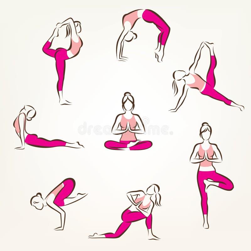 Set joga i pilates poz symbole ilustracja wektor