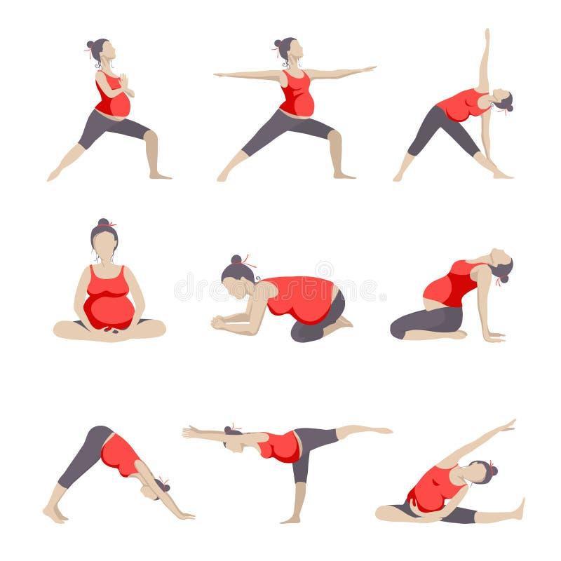 Set 9 joga poz dla kobieta w ciąży royalty ilustracja
