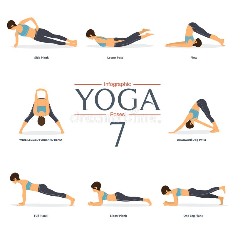 Set 8 joga poz w płaskim projekcie Kobiet postacie w sportswear dla joga infographics ilustracja wektor