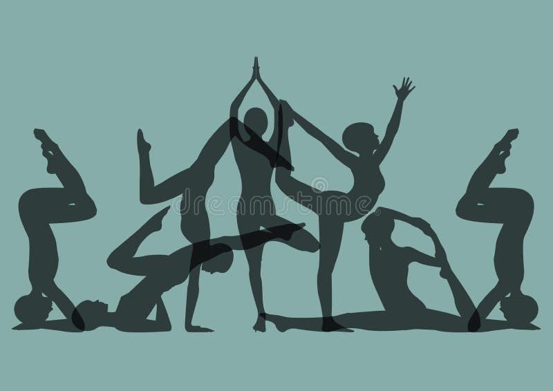 Download Set joga pozy ilustracja wektor. Ilustracja złożonej z wyznaczający - 53786393