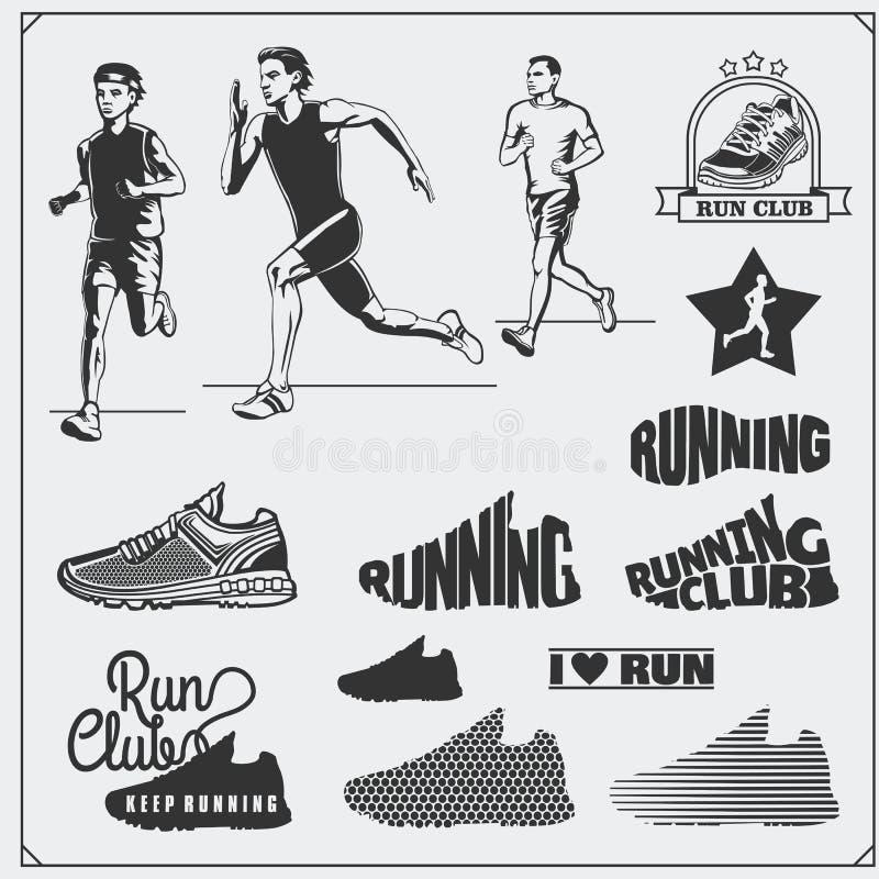 Set jogging i biegać klub etykietki, emblematy, odznaki i projektów elementy Działających butów ikony i sylwetki biegacze royalty ilustracja