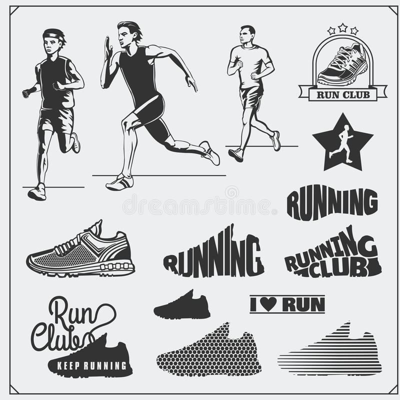 Set of jogging and running club labels, emblems, badges and design elements. Running shoes icons and silhouettes of runners. royalty free illustration