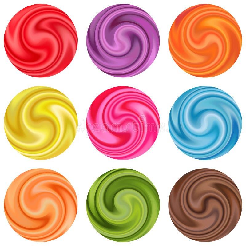 Set jogurt śmietanki lizak lub kędzior. royalty ilustracja