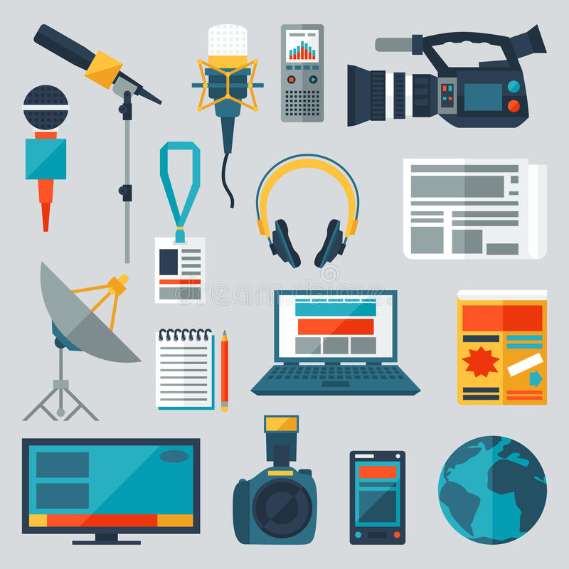 Set of journalism icons. Mass media and press conference concept symbols in flat style royalty free illustration