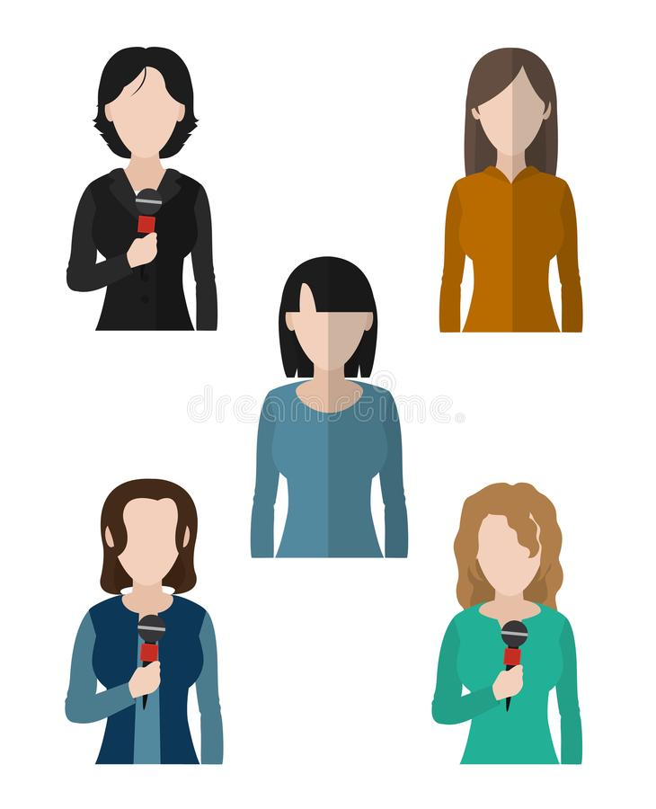 Journalism and journalist. Set of journalist womens avatars cartoons vector illustration graphic design royalty free illustration
