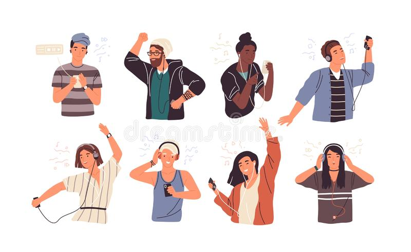 Set of joyful people wearing earphones and headphones, listening to music and dancing. Bundle of happy boys and girls. Using audio player isolated on white royalty free illustration