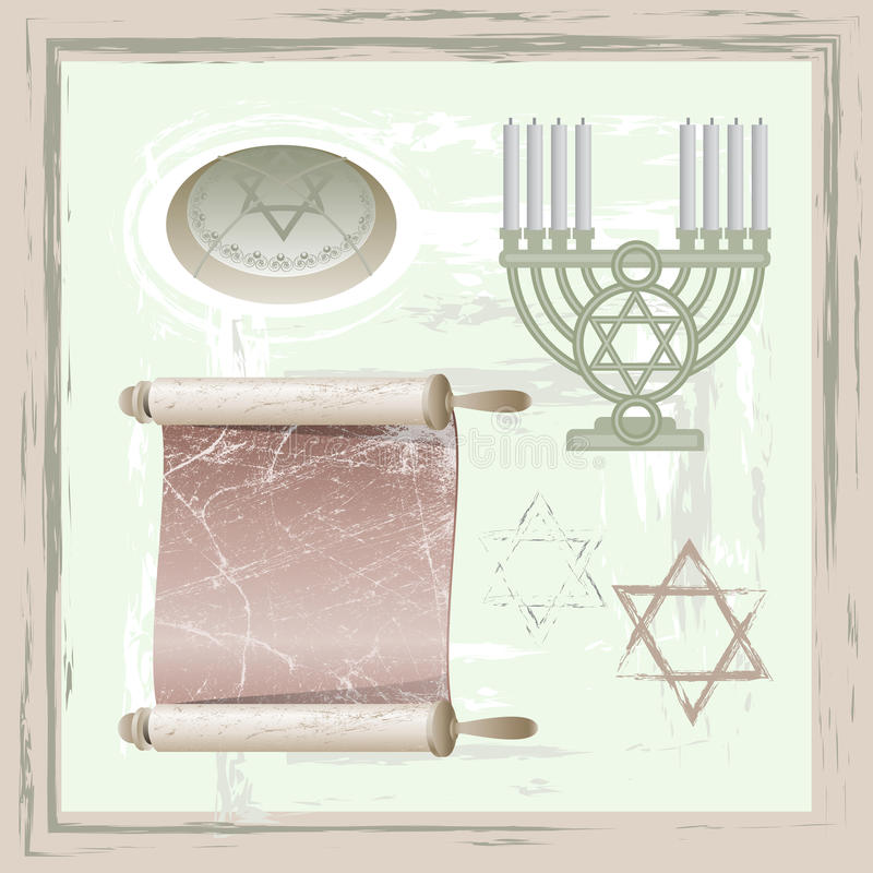 Set of of judaism symbols. In vintage style vector illustration