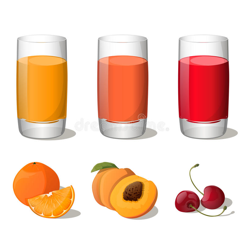 Set of juices in glass (orange, peach, cherry) isolated on white background. Vector Illustration. All fruits are in groups and easy to use royalty free illustration