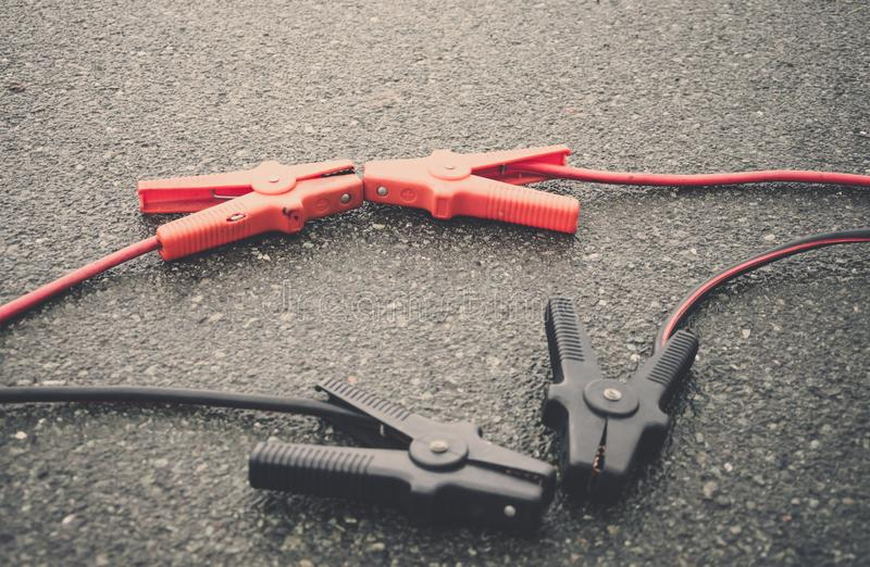 Set of jumper leads or cables royalty free stock photo