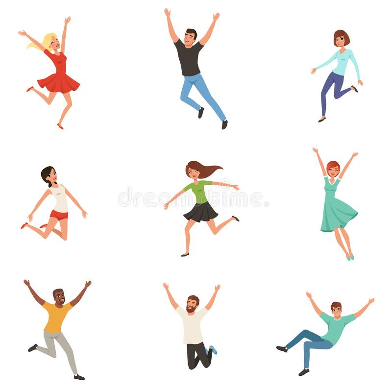 Flat vector set with jumping happy people. Joyful men and women in different positions. Cartoon characters of young guys stock illustration