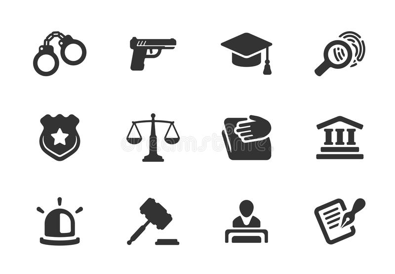 Set of justice and police icons royalty free illustration