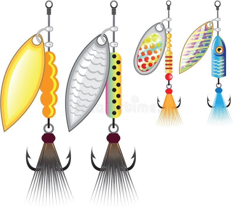 Set kądziołków łowić wabije wektorową ilustrację royalty ilustracja