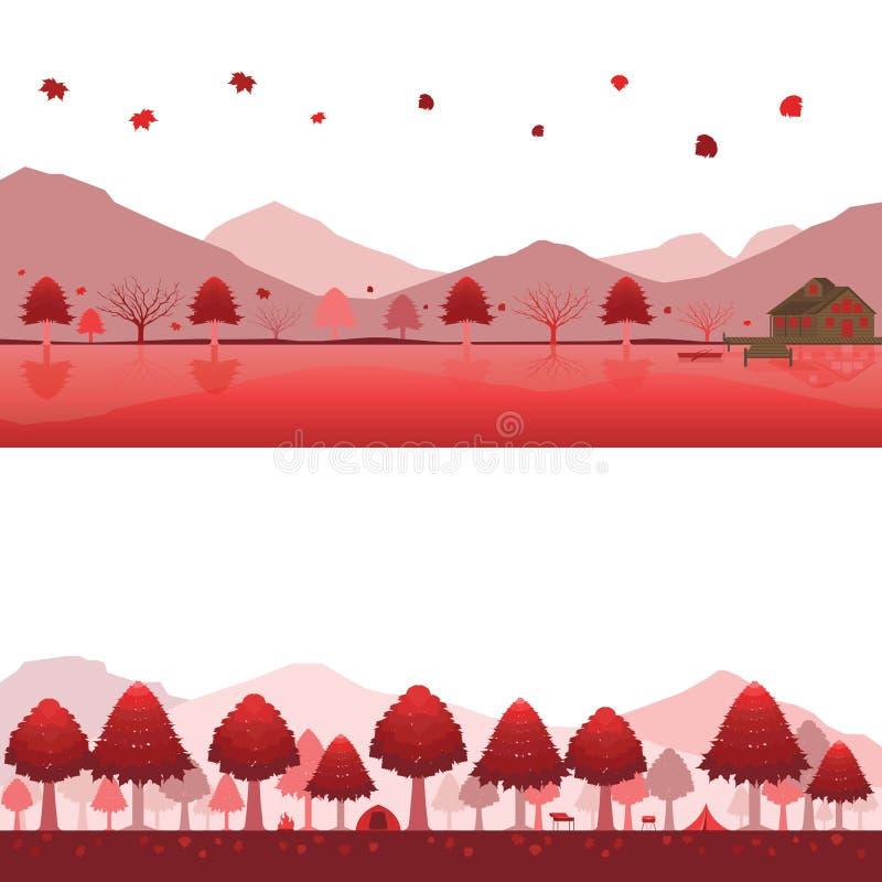 Set kabina na jeziorze i campingu na górze w jesień krajobrazie ilustracji